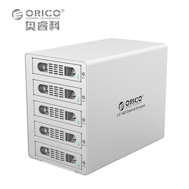 "Ferramenta ORICO 3559RUS3 Alumínio Livre 5 Bay 3.5 ""SATA2.0 USB3.0 & eSATA HDD Docking Station Externa Função RAID 5*8 TB HDD Caso"