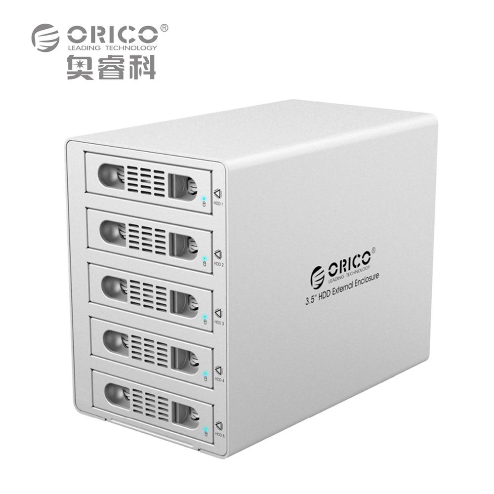 ORICO 3559RUS3 Tool Free Aluminum 5 Bay 3.5 SATA2.0 USB3.0 HDD External Docking Station RAID Function 5*8TB HDD Case