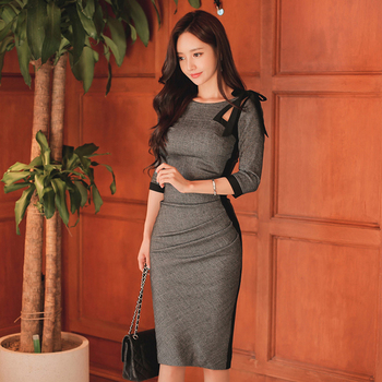 Office Ladies O-Neck Hollow-out Women Dress Ruched Hip Package Slim Waist Sheath Midi Dress Female Spring Summer Best Women Dresses