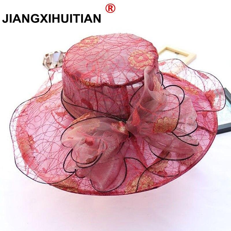 579b878f8 Eleganckie kobiety mody koronki kościół kapelusze dla kobiet kapelusz z  kwiatem lato Gorras kapelusz słońce ślub Kentucky Derby szerokie rondo  morze plaża