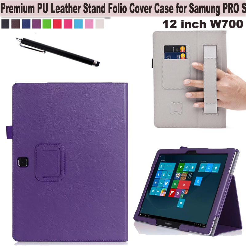 Wallet Flip Smart Cover Folio PU Leather Stand Case W/ Card holder, Hand Strap for Samsung Galaxy Tab Pro s 12 SM-W700N Tablet