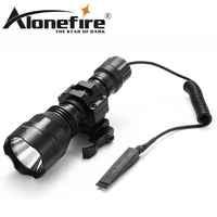 AloneFire C8 CREE XM-L2 U3 LED Tactical Flashlight Torch hunting 20mm Mount Airsoft Rifle Scope Shotguns light 18650 battery