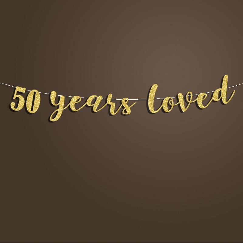 50 жыл өте жақсы көретін Glitter Banner 50th - Мерекелік және кешкі заттар - фото 2