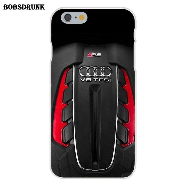 Soft TPU Protector Cases The Audi Twin Turbo V8 For iPhone 4 4S 5 5C SE 6 6S 7 8 Plus X