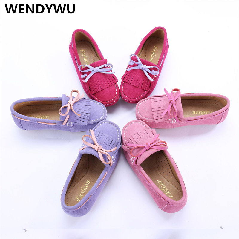 WENDYWU spring girl fashion genuine leather boat shoes for children tassel for toddler brand moccasin fashion baby flats tassel soft sole cow leather shoes infant boy girl flats toddler moccasin 17mar20