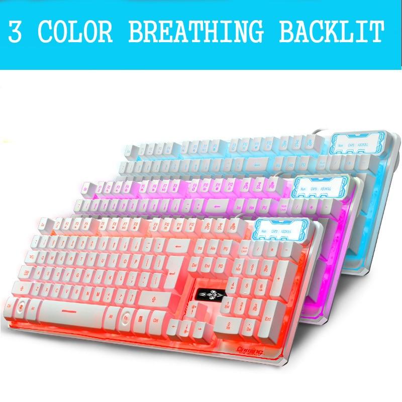 все цены на 3 Color Backlit Keyboard Breathing Breath Backlight Suspension Laptop USB Wired Gaming Gamer Keyboard онлайн