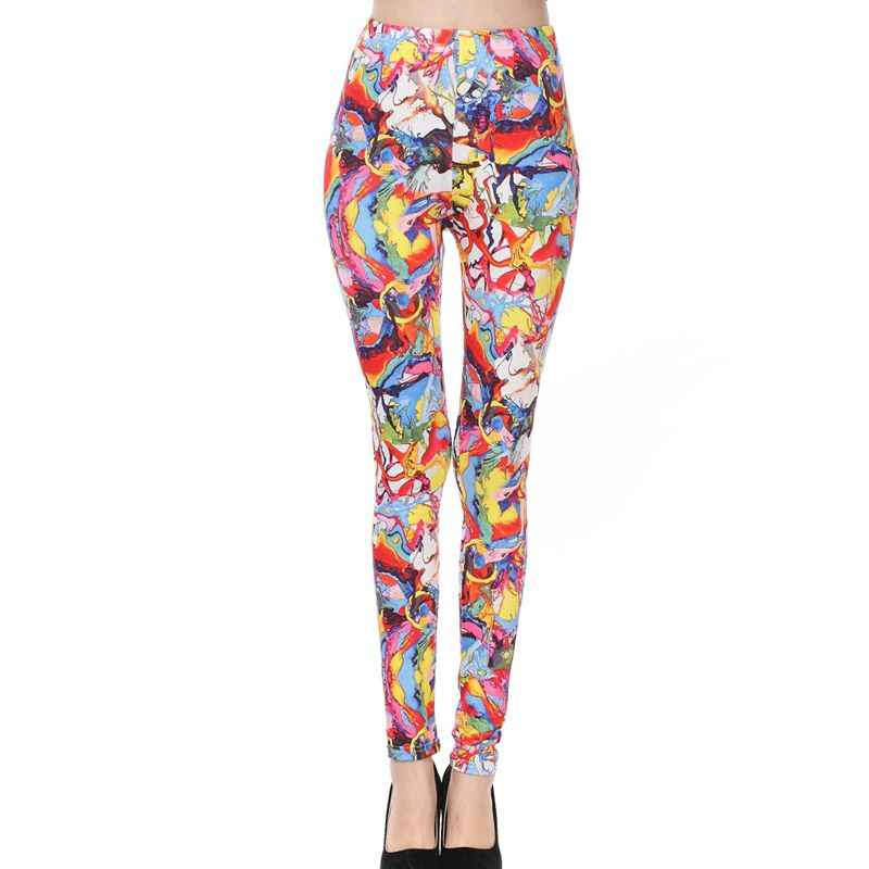 7dc663b4a 2018 The new colorful streamers milk silk printing Leggings gothic casual  grafitti disco pants sexy punk
