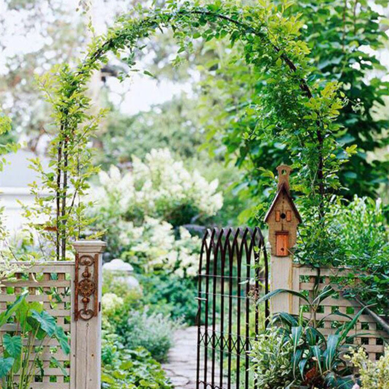 Iron Pergola Outdoor Garden Arches Metal Flower Stand Green Climbing Frame Loofah Rack Grape Rattan Rack