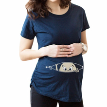 Pregnant Women T shirts Maternity clothes Slim Cartoon Nursing Top Letters O Neck Pregnancy long Tee