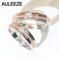 AULEEZE Real Diamond Wedding Band Solid 18K Rose White Gold Couple Rings For Lovers Bridal Jewellery