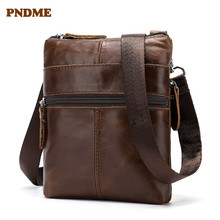 PNDME Men's genuine Leather  Shoulder Bag Retro Casual Crossbody Bags First layer cowhide Business Men's Bag Small square bag недорого