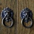 Cabeça de Leão de Bronze antigo Puxador de Gaveta Punho puxadores de móveis armário de cozinha puxador/mobiliário Clássico lidar com roupeiro
