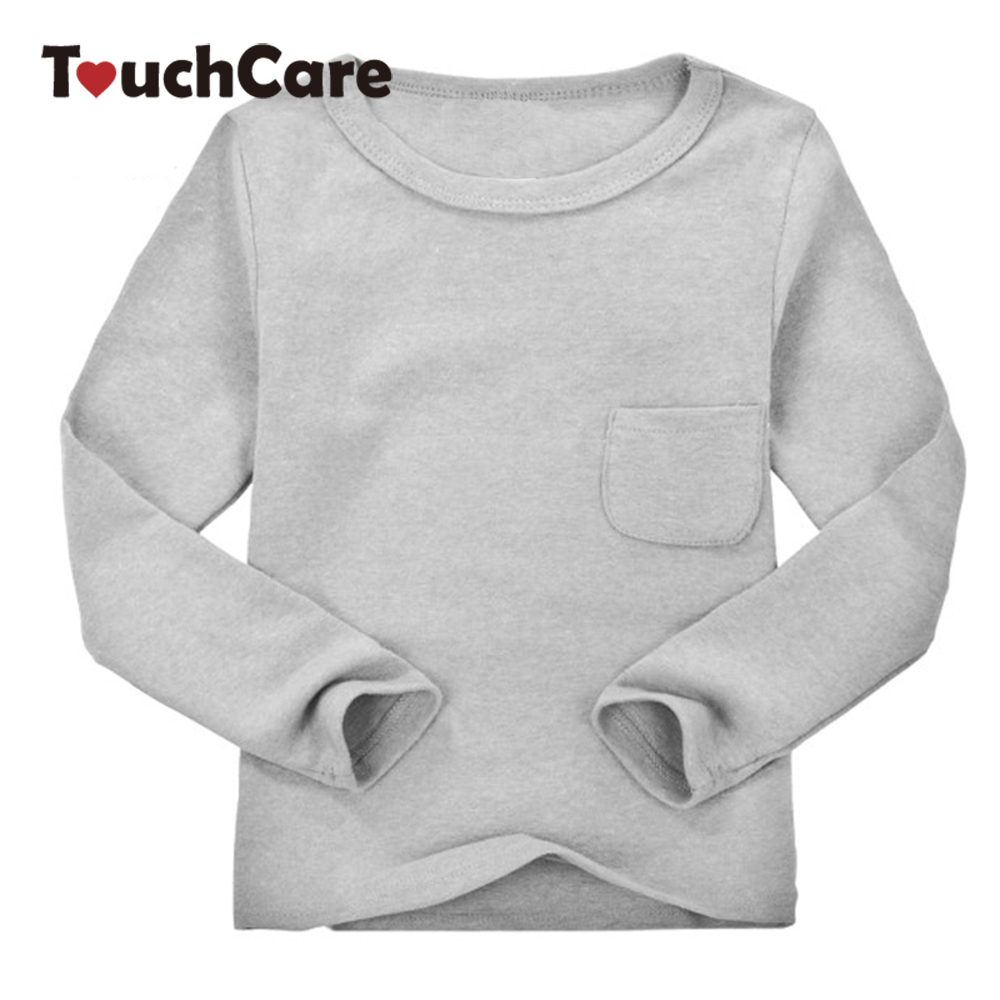 18 Colors Children Clothes Girl Boy Long Sleeve Cotton O-neck T shirts Kids Clothing Tops Basic Pocket T-shirt
