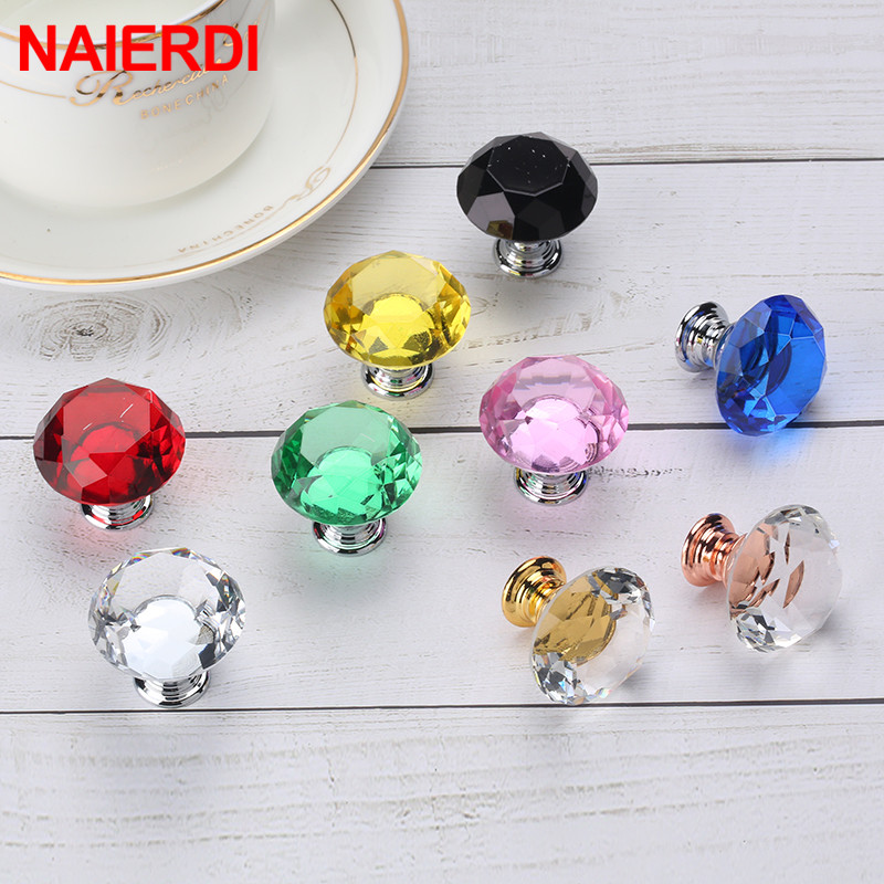 NAIERDI 20mm 30mm Diamond Crystal Glass Knobs Cupboard Pulls Drawer Knobs Kitchen Cabinet Handles Modern Style Furniture Pulls