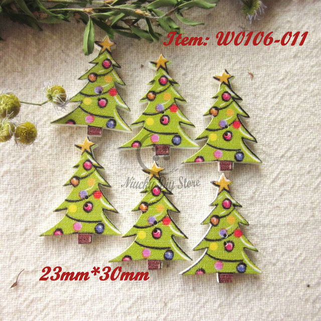 Christmas Series 100pcs Christmas Tree Wood Buttons Christmas Wooden