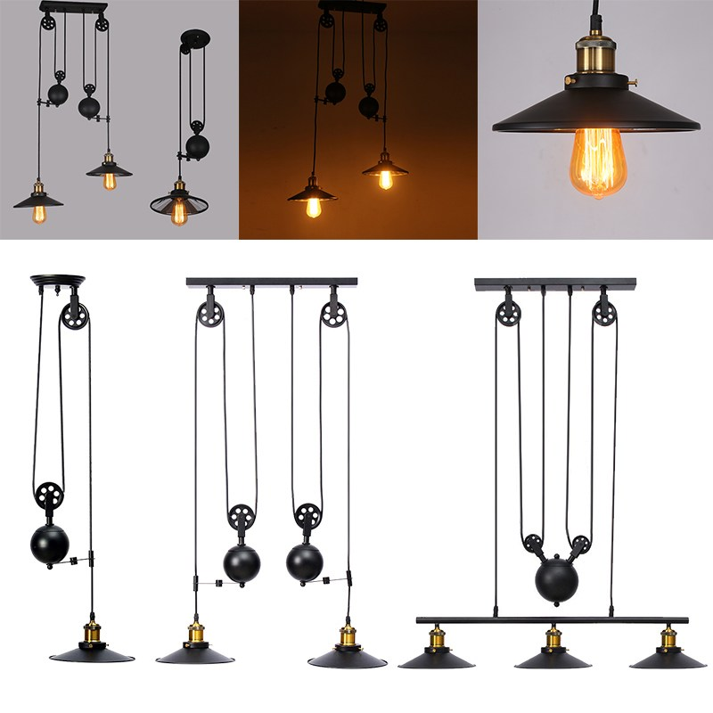 Smuxi Vintage Iron Loft Industrial American Style Pulley Pendant Light Adjustable Wire Lamp Retractable Bar light