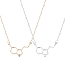 2015 New Style Hot Fashion Serotonin Molecule Chemistry Necklace Unique Rhombus Jewelry Gift for Girls and Ladies