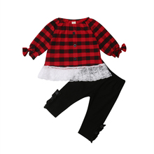 Christmas Toddler Kids Baby Girls Plaids Lace Patchwork Tops Long Sleeve T-shirt Pants Outfits Clothes Set 2019 недорого