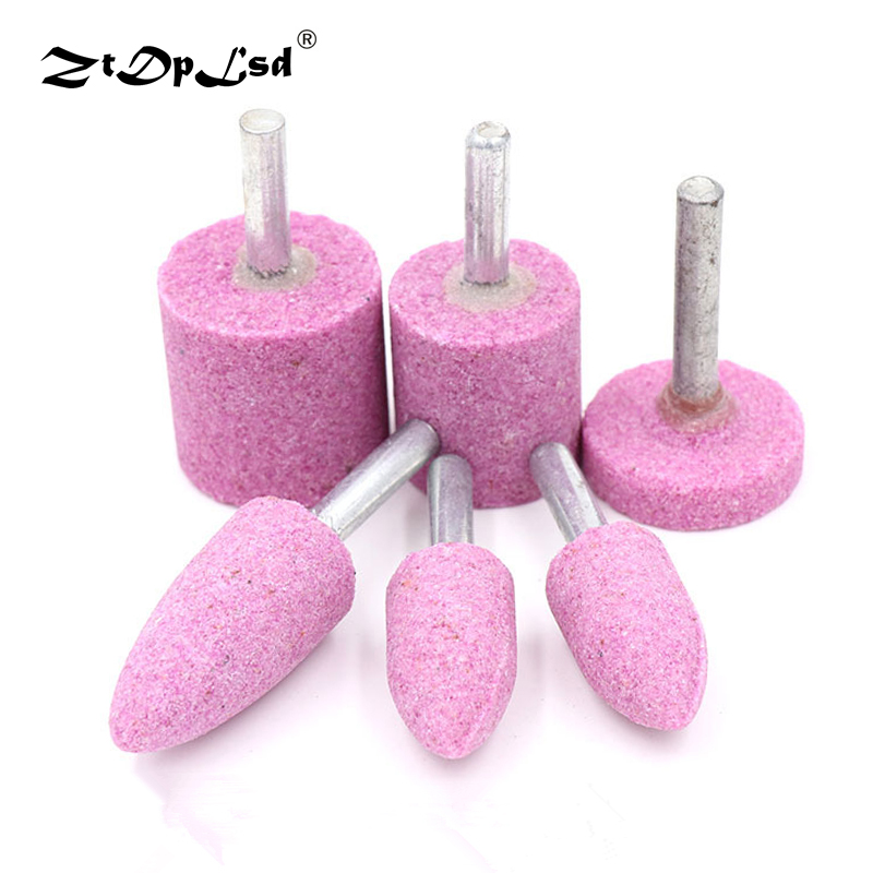 ZtDpLsd 1Pcs 6mm Shank Abrasive Mounted Stone Cylindrical For Dremel Rotary Tools Grinding Wheel Head Polishing Metal Wood Tool