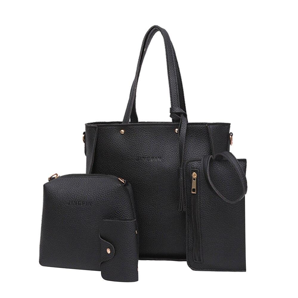 Women Bag Set Top-handle Latrge Capacity Female Tassel Handbag Classic Shoulder Bag Purse Ladies Pu Leather Crossbody Bags-16 Let Our Commodities Go To The World Women's Bags