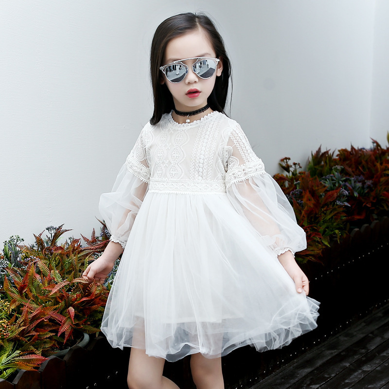 Children's Garment Girl Princess Dress 2017 Spring New Pattern Lace Long Sleeve Dress Princess 2016 spring new pattern korean children s garment girl baby lace back will bow dress girl jacket