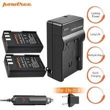2pcs EN-EL9 EN EL9 ENEL9 Battery +Charger+car charger 7.2V 2000mAh Camera For Nikon EN-EL9a D40 D40X D60 D3000 D5000 L15
