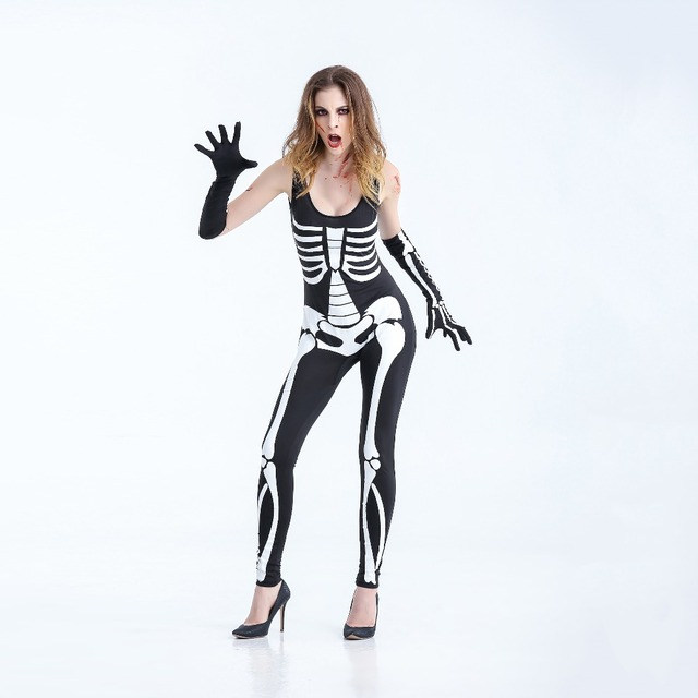 Women Terror Skeleton Costumes Female Catsuit Jumpsuit Bone Skeleton Halloween Role Playing Costumes skull cosplay for  sc 1 st  AliExpress.com : skeleton costumes female - Germanpascual.Com