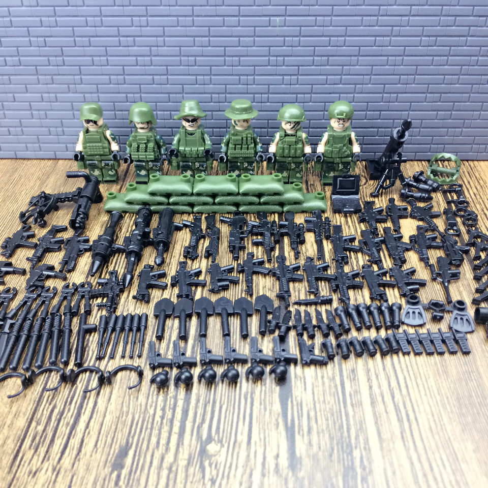 Legoings Military Troops 6pcs Jungle Commandos Camouflage Army Soldiers Team with Weapons Pack Kids Block Toy