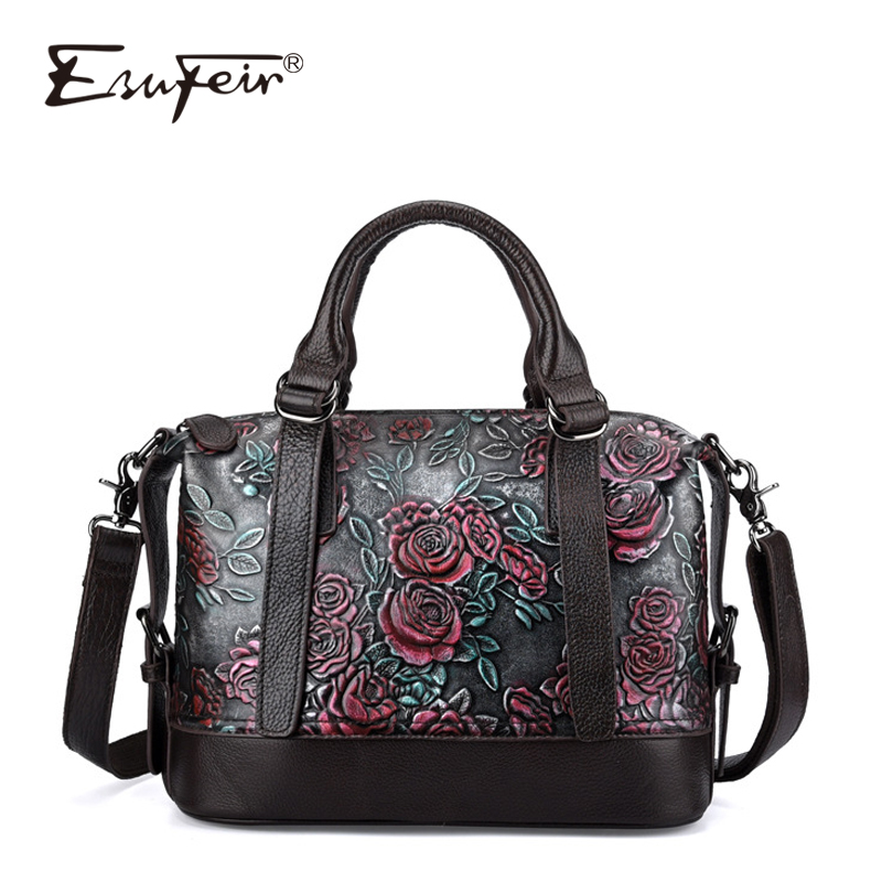 2018 ESUFEIR Genuine Leather Boston Women Handbag Embossed Leather Shoulder Bag Pillow Bags Ladies Bag bolsa feminina sac a main