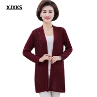 XJXKS 2019 New Spring Openwork Knit Women Sweater Knitted Long Cardigan Middle aged Ladies Long Sweater Cardigan