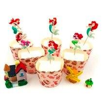 24pcs/set Mermaid Cake Topper Decor Halloween Birthday Party Event Supplies Baby Shower Baking Decoration