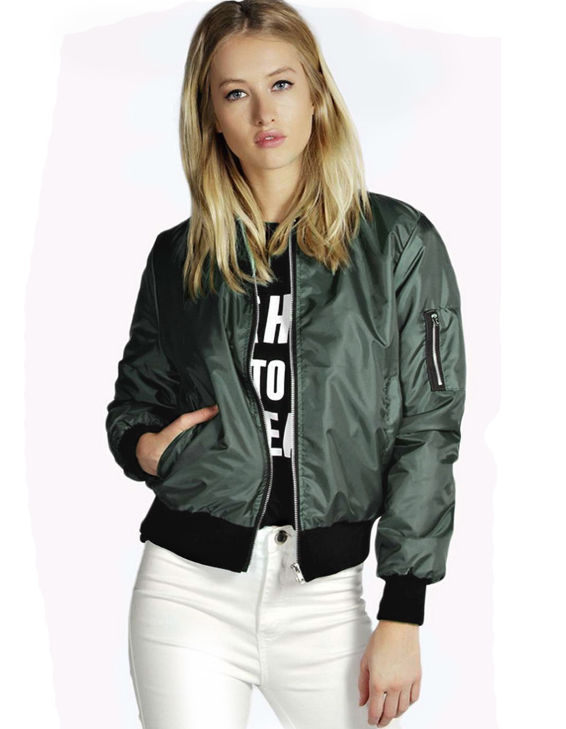 Spring Autumn Green Bomber Jacket women 2016 Zipper Casual Tight ...