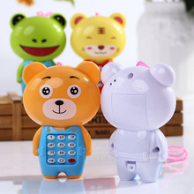 Random Color Cartoon Animals Cute Sounding Children Digital Vocal Glowing Musical Mobile Phone Kids Educational Toys Xmas Gifts