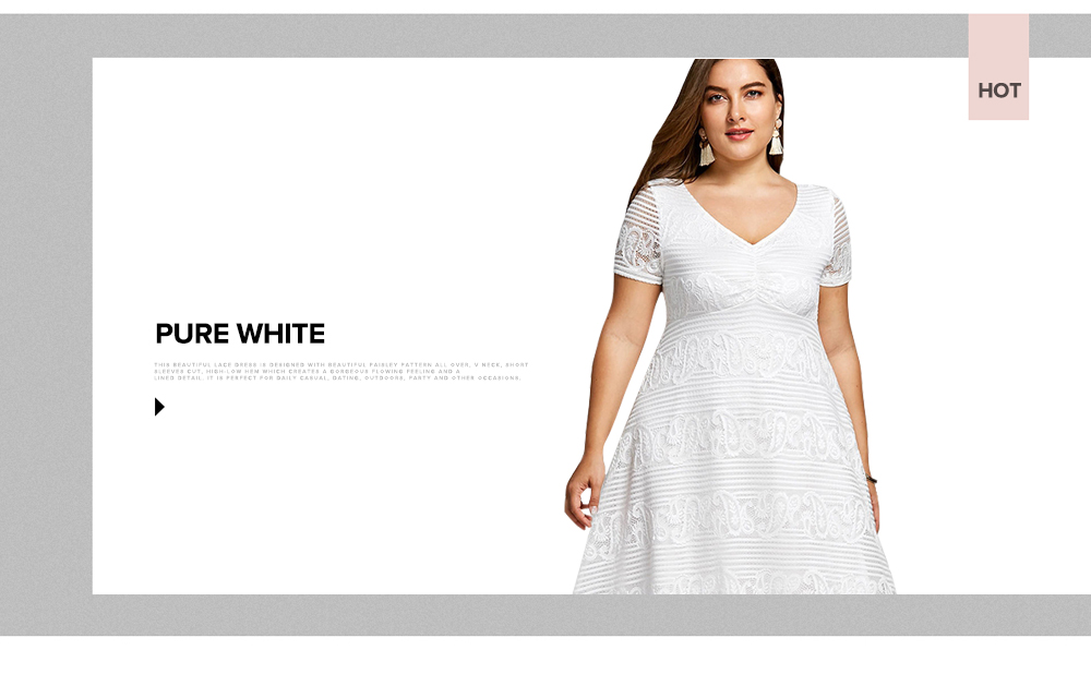 36c7f6bbc43a ... Plus Size XL 5XL Summer Midi Dress Women Short Sleeves White Color V-Neck  Semi ...