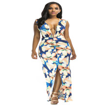 New summer popular Italian fashion personality temperament sleeveless printed belt v-neck sexy Slim female dress