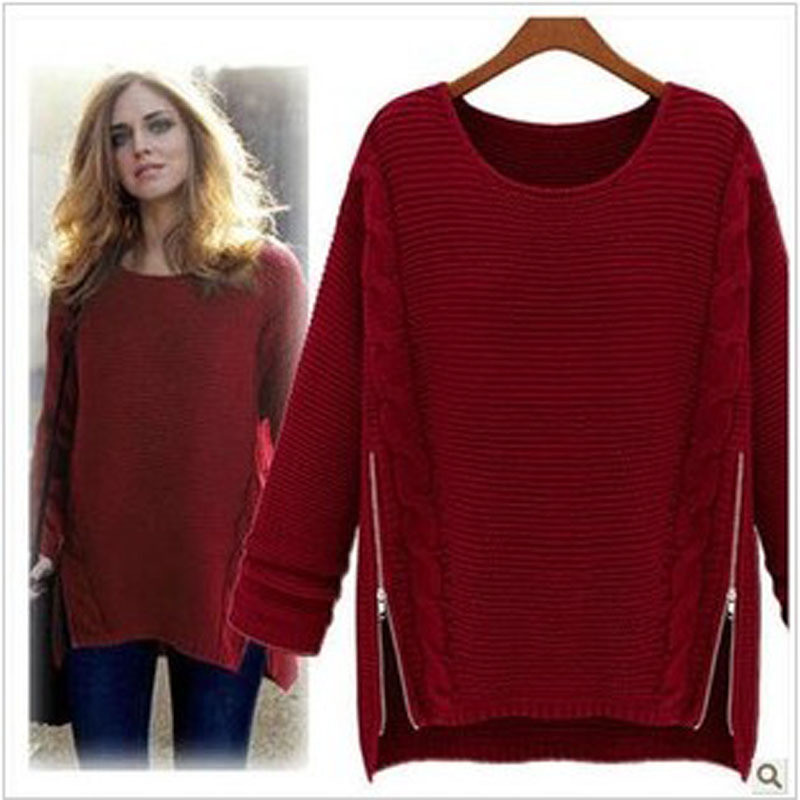2017 New Autumn Casual Basic Tops Women Sweaters Long Pullovers Winter  Irregular Pull Femme Oversized Sweater Knitted Wool S048 b4da271a5