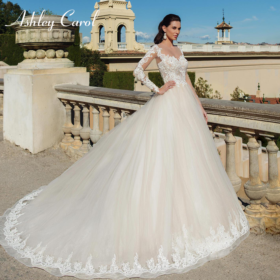 Ashley Carol Sexy Sweetheart Long Sleeve Princess Lace Wedding Dress 2019 Crystal Appliques Bride Dresses Vintage Wedding Gowns
