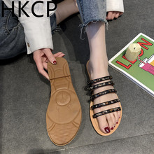 HKCP Gladiator slipper ladies 2019 fashion summer new line one - foot set students wear flat bottom rhinestone slippers C169