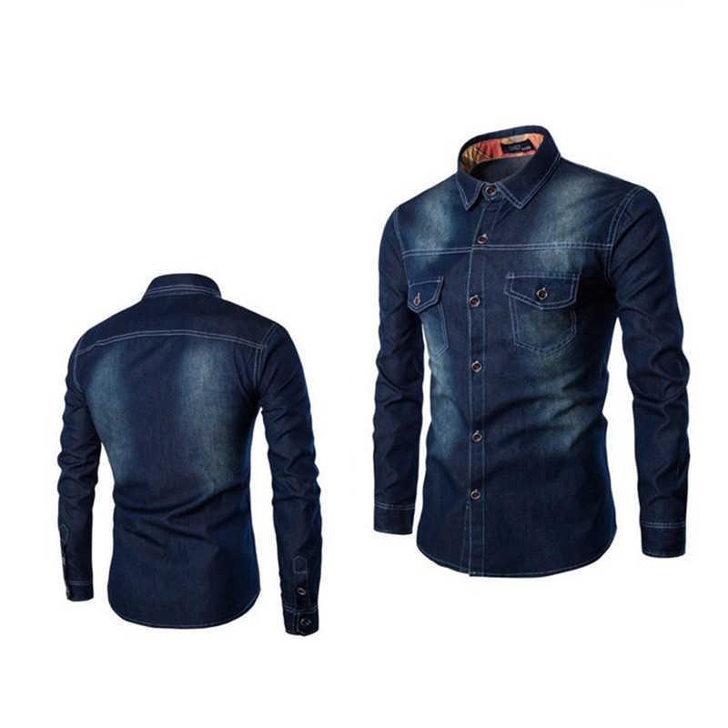 カジュアルファッション 2 ポケットトップス服スリムフィット長袖シャツ 2019 新作デニムシャツ男性プラスサイズ 6XL 綿ジーンズカーディガン