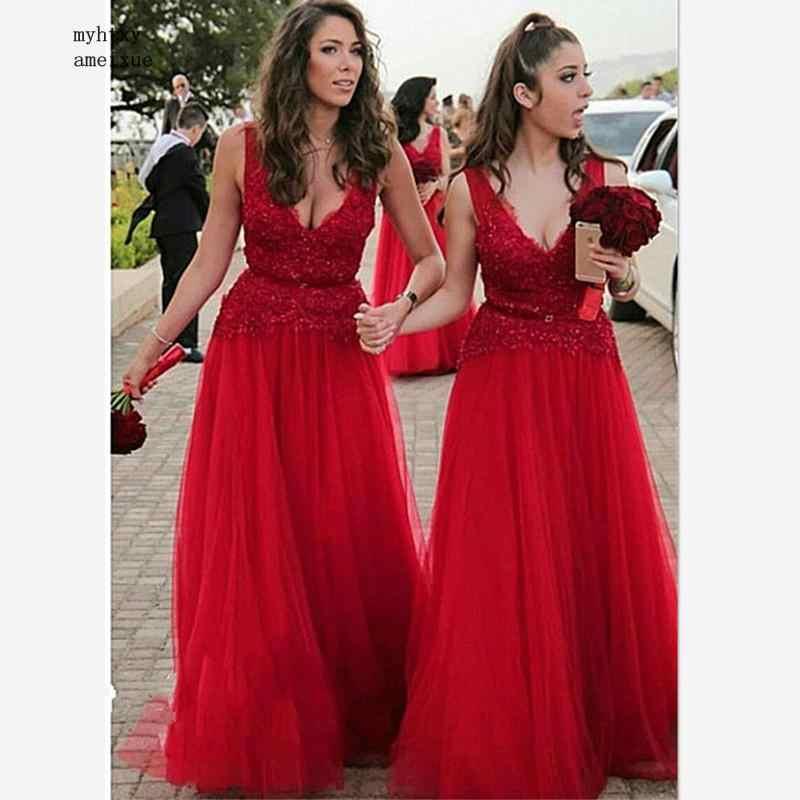 レッドチュール A ラインロング花嫁介添人ドレス 2019 セクシーな胸元ネックアップリケレースの結婚式のゲストのための名誉のメイド女性