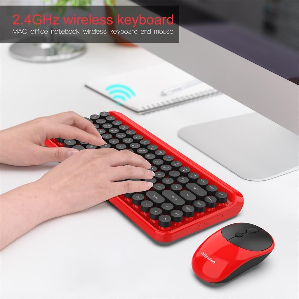 K800 2.4G clavier sans fil souris ultra-silencieuse pc gamer rétro Keycap Style 84 touches clavier sans fil + souris pour jeux de bureau
