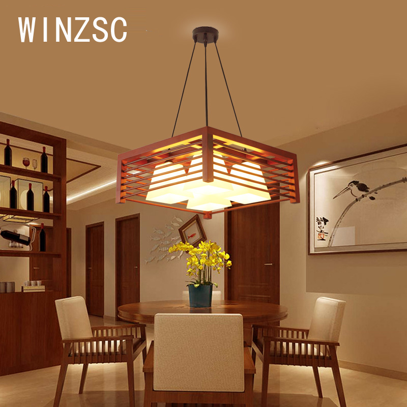 Solid Wooden Modern chandelier solid wood restaurant creative wooden lamp table circular simple chandelier three dining MZ152