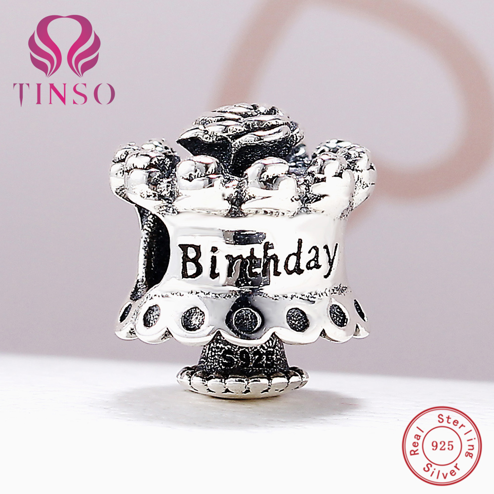 100% Authentic 925 Sterling Silver Happy Birthday Charm Beads Fit Pandora Charm Bracelet DIY Original Silver Fashion Jewelry