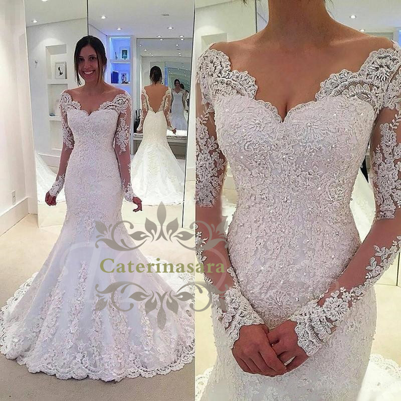 Long Sleeves Wedding Dress Sexy V Neckline With Appliques Lace Bride Gown Fit Or Mermaid Train Open Back Zipper Closed