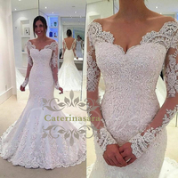 Long Sleeves Wedding Dress Sexy V Neckline with Appliques Lace Bride Gown Mermaid Train Open Back Zipper Closed Vestido De Noiva