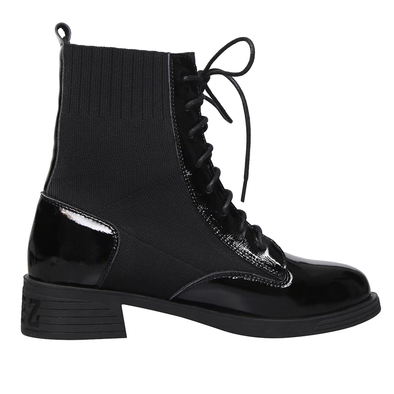 Square heel Boots Genuine Cow Leather Women Autumn Winter Patchwork Ladies E131 Fashion Woman Black Cross tied Round Toe Boots in Ankle Boots from Shoes