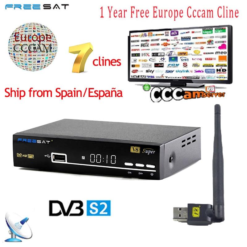 1 Year Europe 7 Clines Cccam Server Spain Italy Arabic Freesat V8 Super DVB S2 Satellite