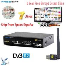 1 год Европа 7 резких перемен температуры CCcam сервер Испания Италия арабский freesat V8 супер DVB-S2 спутниковый ресивер Full HD 1080 P USB WI-FI Телевизионные антенны