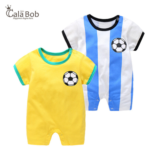 7d4bb04ad CalaBob Baby Boy Romper Summer Short Sleeve Newborn Baby Soccer Clothes  Cotton Cartoon Print Baby Girl Rompers Toddler Jumpsuit