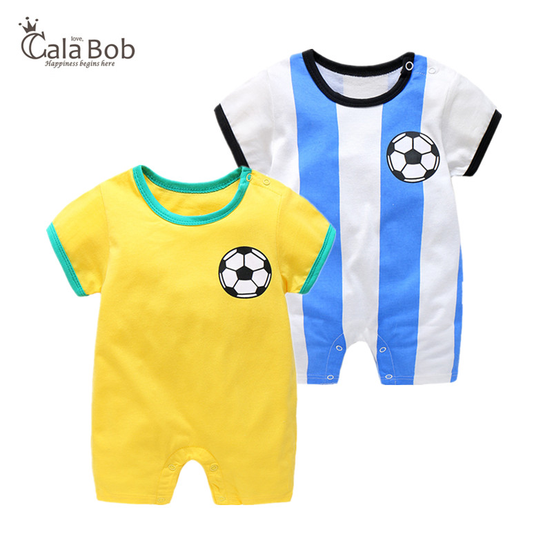 CalaBob Baby Boy   Romper   Summer Short Sleeve Newborn Baby Soccer Clothes Cotton Football Sport Baby   Rompers   Toddler Jumpsuit